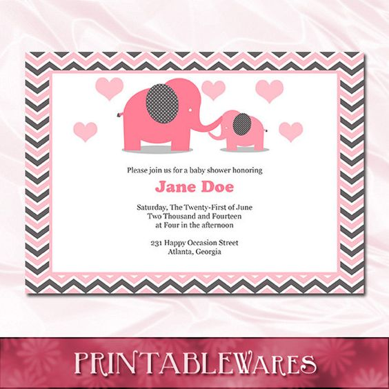 Pink Brown Elephant Baby Shower Diaper Raffle by PrintableWares - free baby shower invitations templates for word