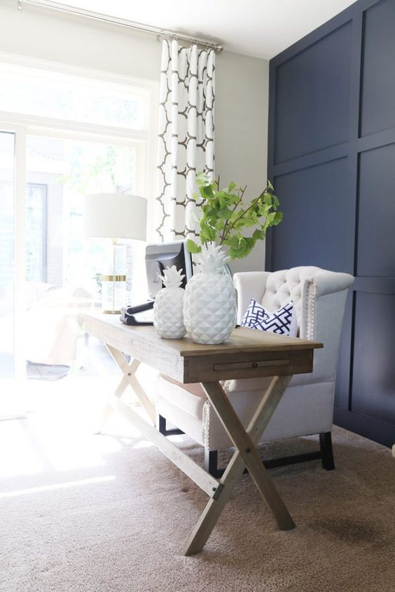 Office with Hale Navy Wall, Wood Desk and white and green accents: