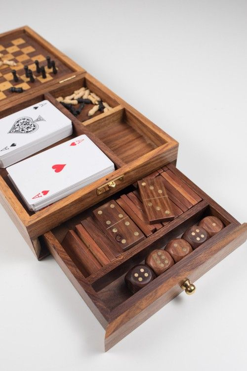 Game Box Handmade In India Cards Chess Dominos Shesham Wood Ethical Gifts Games Box Gambling Gift Wooden Games