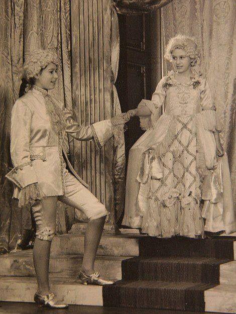 Princess Margaret and Princess Elizabeth (left) in the play Cinderella, 1941, at the Royal School, Windsor.