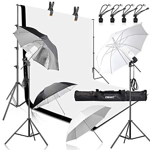 Emart 400w 5500k Daylight Umbrella Continuous Lighting Kit 8 5x10ft Background Support System Wit With Images Home Studio Photography Muslin Backdrops Continuous Lighting
