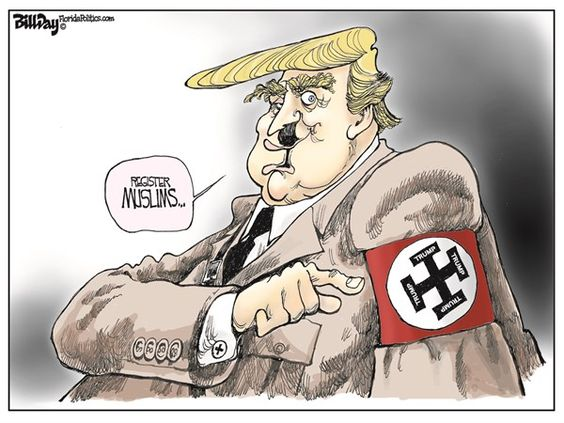 Image result for TRUMP AS HITLER CARTOON