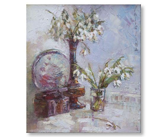 Snowdrops floral painting  Original oil still by ValArtGallery.etsy.com