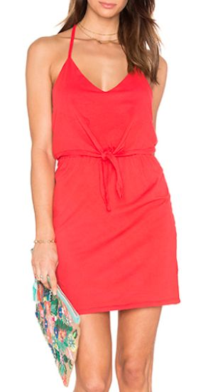 cute red drawstring waist dress