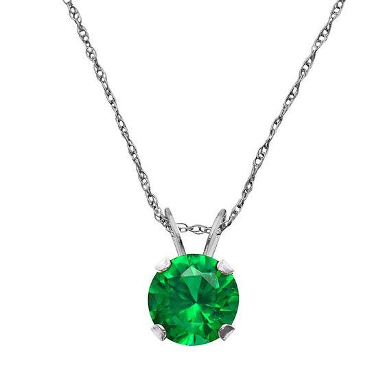 "10k White Gold Lab-Created Emerald Pendant, Women's, Size: 18"", Green"