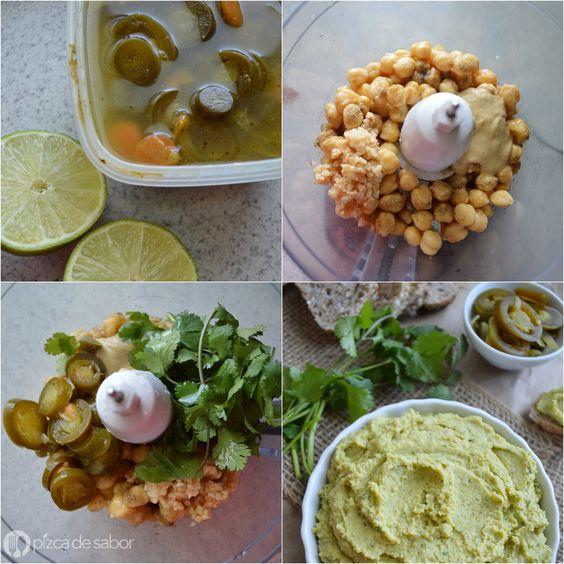 Hummus de jalapeño y cilantro www.pizcadesabor.com