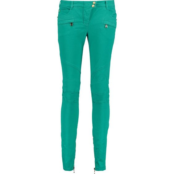 Balmain jade jeans.  Mid-weight stretch-denim.  Belt loops, seven pockets, seam details, zipped cuffs.  Snap and concealed zip fastening at front.  97% cotton,…