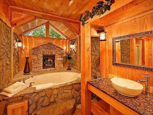 Master bath log cabins and logs on pinterest for Log cabin bathroom pictures