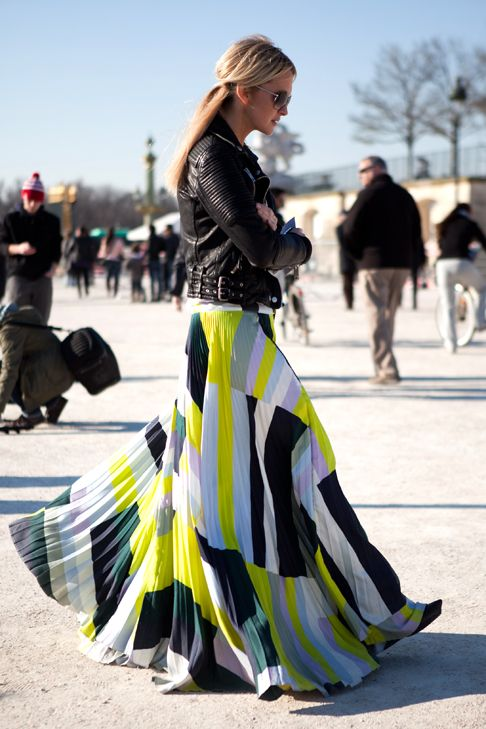 Love a maxi with a biker jacket...