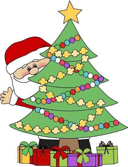 Clip Art Christmas Cliparts christmas clip art santa behind a tree claus peeking out