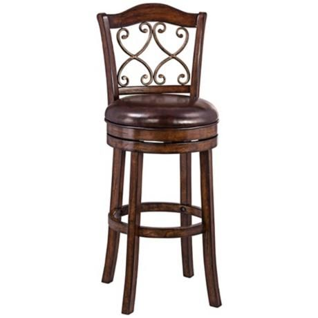 """Newton Brown Faux Leather 26"""" Swivel Counter Stool"""