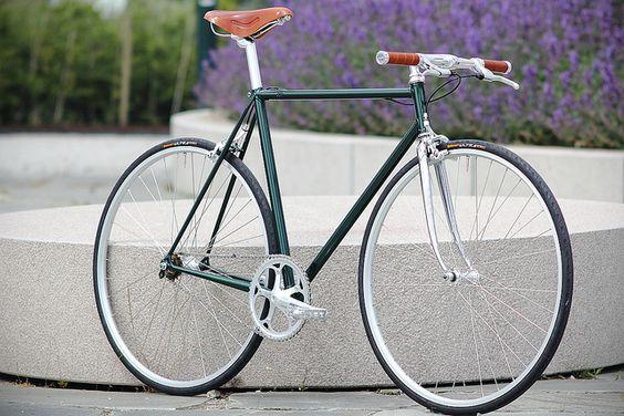 Racing Green Metallic Singlespeed  built on an old Battaglin frame in Columbus Aelle tubing