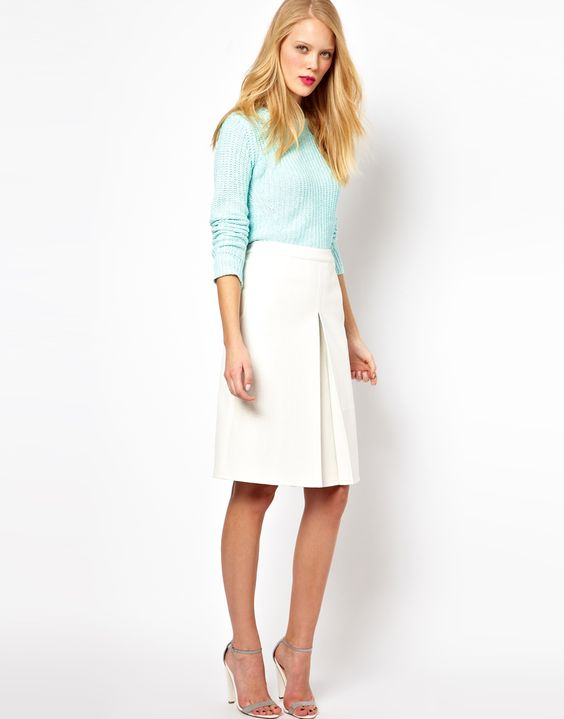 White Leather Look Skirt