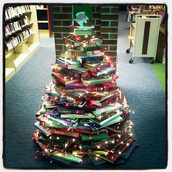 image of a library christmas tree