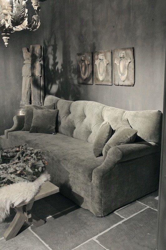 Dove Gray Home Decor Tufted Grey Velvet Sofa Dove