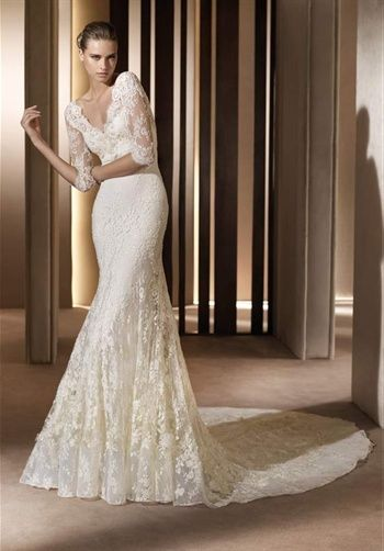 This dress is beautiful. Lots of lace detail in the sleeves and train.