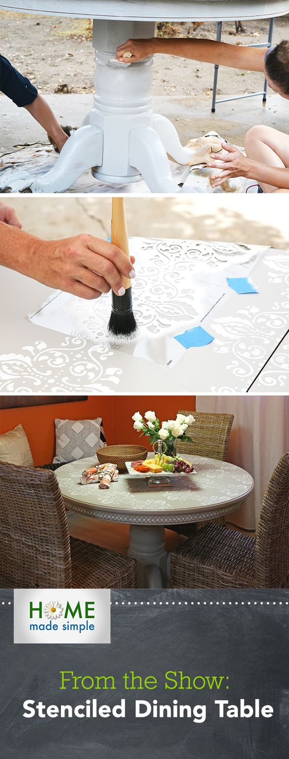 Repurpose an old dining table into a wow-worthy stenciled art piece with guidance from the experts at Home Made Simple. Find your next DIY project idea on Home Made Simple, every Saturday at 9am/8C on OWN!