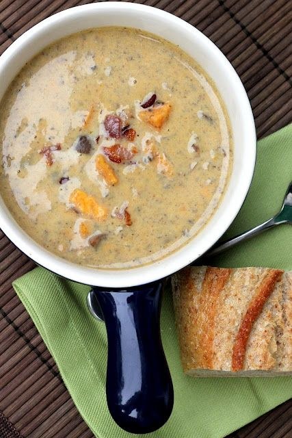 Mushroom, Sweet Potato, and Smoked Gouda Chowder