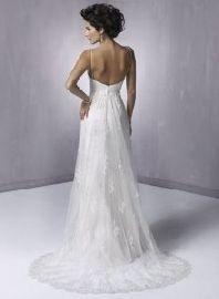 satin plunging neckline wedding gowns