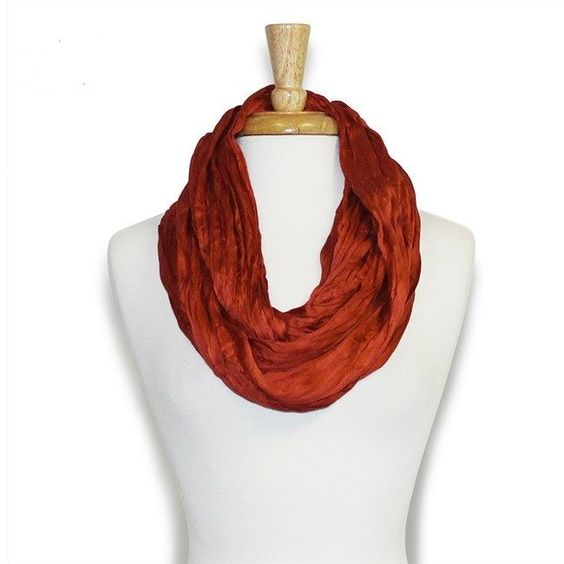Rust Colored Silk Blend Infinity Scarf