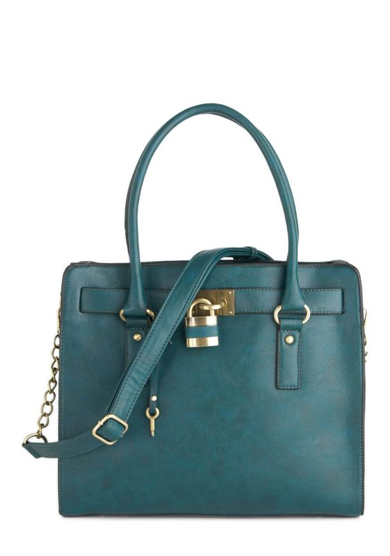 "Full Course Load Bag in Matte Teal - 14"" by Melie Bianco - Blue, Solid, Chain, Work, Scholastic/Collegiate, Faux Leather, Variation"