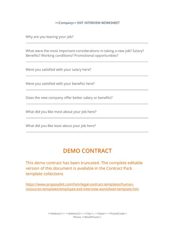 Exit Interview Worksheet - Use the Exit Interview Worksheet to