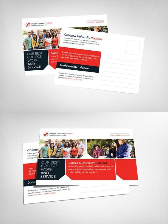 College University Postcard Postcard Design Card Templates Postcard