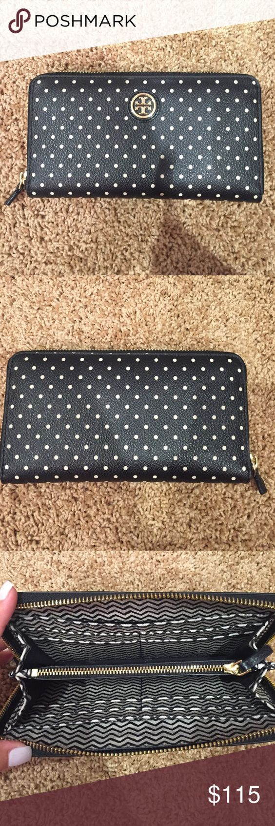 "Tory Burch ""Kerrington"" polka dot wallet Tory Burch ""Kerrington"" wallet. Black with cream polka dots. Zips around. Lightly used with no signs of wear! Tory Burch Bags Wallets"