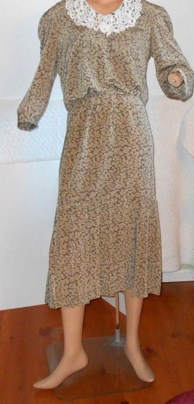 Vintage 1980's Secretary Dress Floral ROCKABILLY Ladies Size 14    4134  #Act11