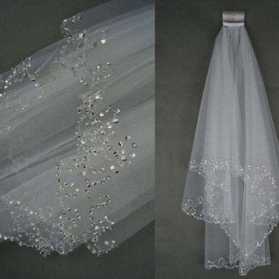 2016 hochzeit Schleier Hochzeit Brautschleier 2 Schicht Handgemachte Wulstige Crescent rand Braut-accessoires Schleier Weiß und Elfenbein farbe