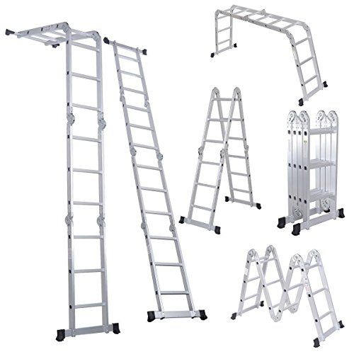 Luisladders 12 5 Feet Aluminum Multi Purpose Folding Extendable Step Ladder Safety Locking Hinges 330 Pound Capacity Scaffold Ladder Folding Ladder Best Ladder