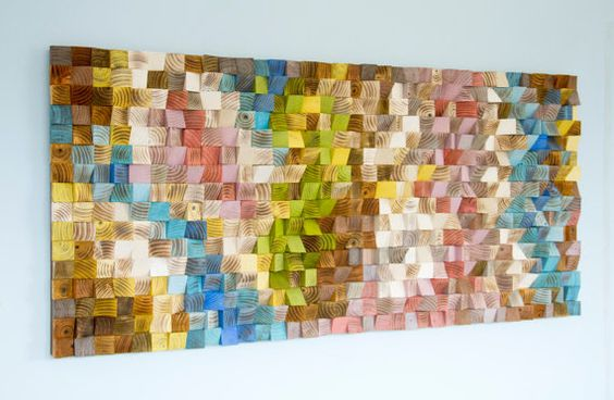 Large Wood Wall Art wood art mosaic 2016 colour by ArtGlamourSligo