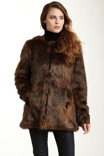 Velvet Kenzie Brown Faux Fur Coat; also comes in black