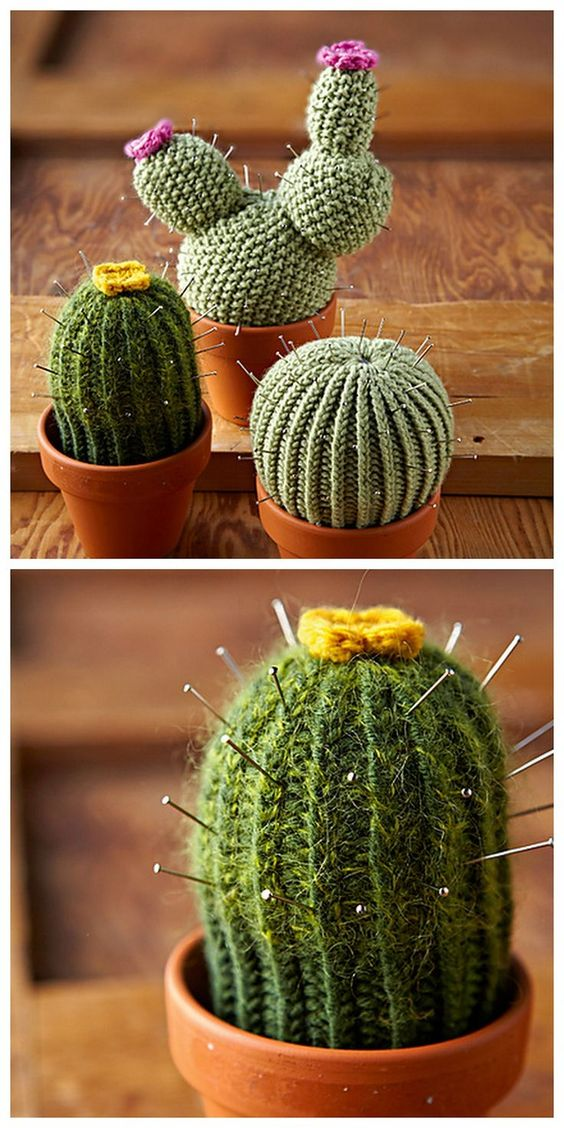 DIY Knit Cacti Patterns from Ravelry here. Ravelry is free to join with so many free patterns, but this is a pay pattern. I posted some free knit cacti patterns here, and for cactus DIYs (cactus cupcakes, etc) go here. First seen at One Sheepish Girl here.:
