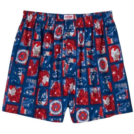 Men's Marvel Captain America: Civil War Boxers in a Tin (775 RUB) ❤ liked on Polyvore featuring men's fashion, men's clothing, men's underwear, blue, mens cotton boxers and mens boxers