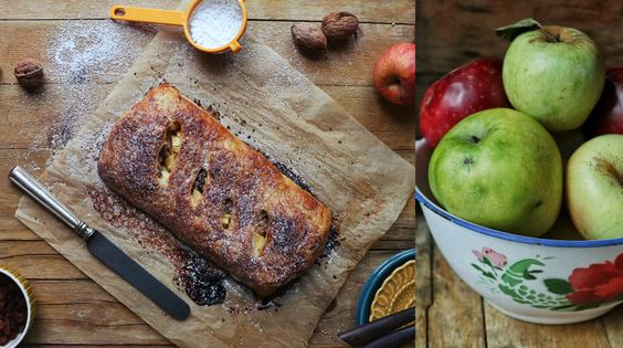 Srudel de maçã, passas e nozes