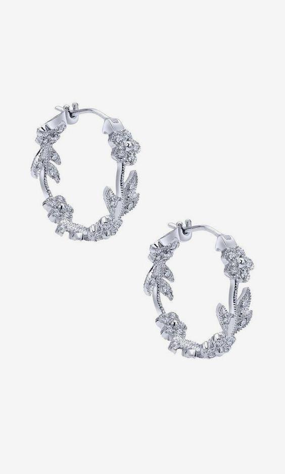 14k White Gold Floral Hoop Earrings