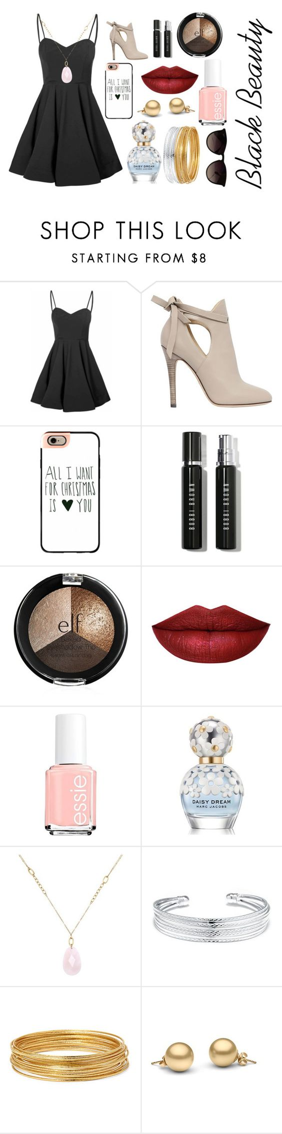 """Black Beauty"" by emilyh0905 ❤ liked on Polyvore featuring Glamorous, Jimmy Choo, Casetify, Bobbi Brown Cosmetics, Essie, Marc Jacobs, White House Black Market, Belk Silverworks, Bold Elements and Ray-Ban"
