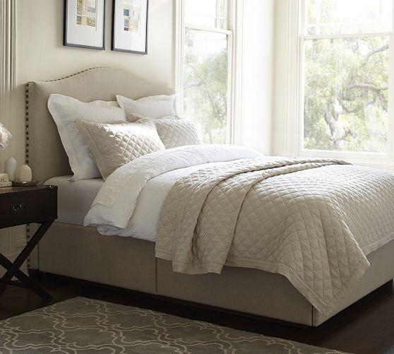 Raleigh upholstered camelback headboard storage platform for Upholstered platform bed with drawers