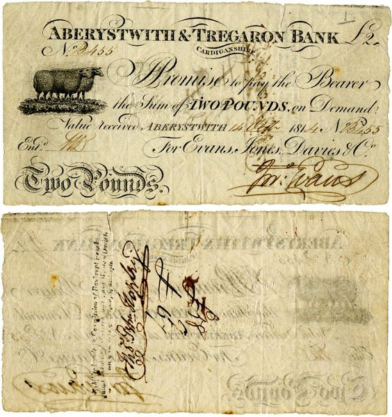 2 pound banknote...one example from 1814...I understand there were many banks issuing their own banknotes