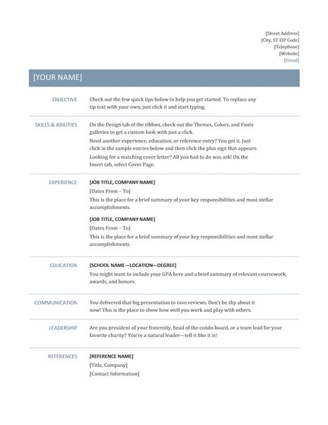basic resume timeless design work