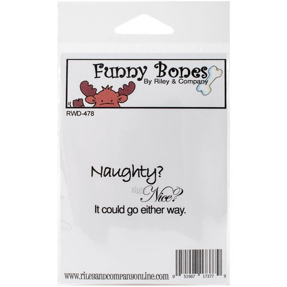 Riley & Company Funny Bones Cling Stamp - Naughty Or Nice?