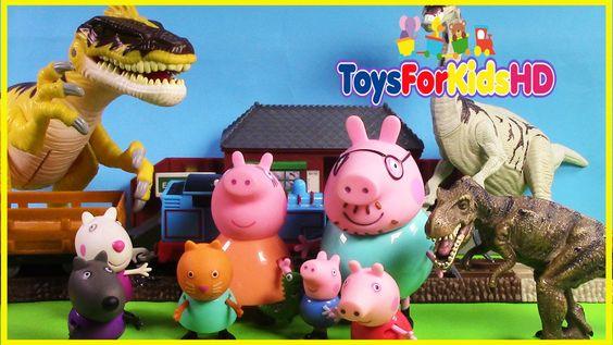 Peppa pig y sus amigos van en busca de los dinosaurios - Juguetes de Pep...
