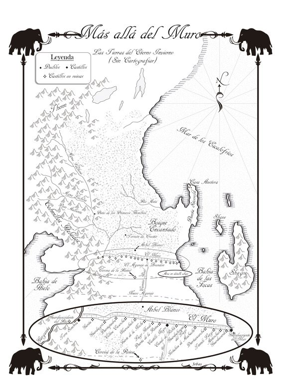 Mapa de los castillos de El Muro y de las tierras salvajes.