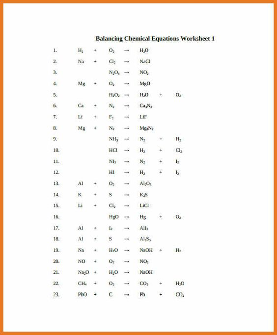 Simple Balancing Chemical Equations Worksheet Free Worksheets