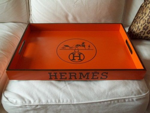 "cheap authentic hermes bags - Hermes Logo Tray Orange Hermes Replica Tray 20""x14""x2"" Bamboo wood ..."