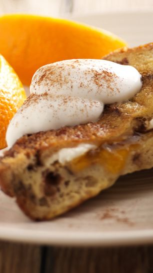 Switch up your morning routine by stuffing your Cobblestone Cinnamon Raisin Swirl Bread toast with sweet peaches and soft cream cheese. Could your day start any sweeter? #PeachMonth