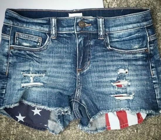 Distressed Denim Shorts With American Flag Pockets Get Them Here Https Rhinestonegal Com Collections New Products D Denim Shorts Denim Jeans For Short Women