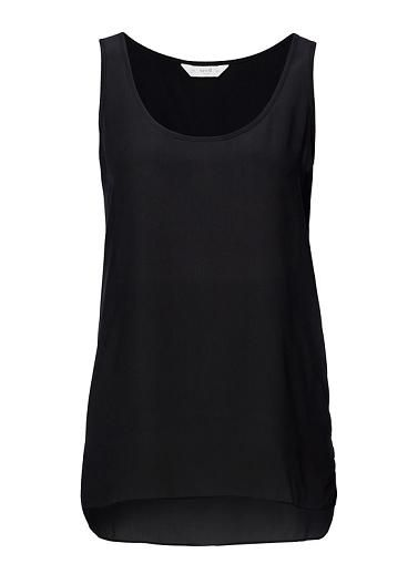 Seed  100% silk tank. This tank is a loose unstructured silhouette and features a dip backed hem. Available in black and white as shown.