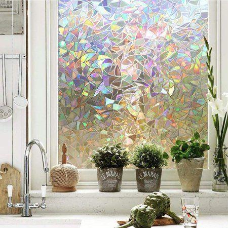 Tayyakoushi 3D Window Films Privacy Film Static Decorative Film, Non-Adhesive, Heat Control & Anti UV, 17.7in. by 78.7in. (Rainbow) - Walmart.com